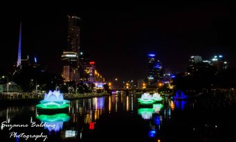 White Night Melbourne and the lotus on the Yarra River viewed from Birrarung Marr.