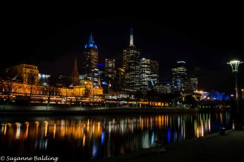 Flinders Street Station, Yarra River and Melbourne. Taken from Southbank.