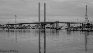 The Bolte Bridge in black and white