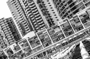 Docklands apartments in black and white